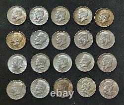 (18)1964 Kennedy+(2) Franklin Half Dollars 90%Silver Coins To Equal 20 Coin Roll