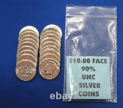 1964P Kennedy UNC Half Dollars $10 face value bag 20 90% Silver coins