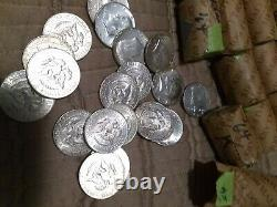 1964 90% U S Kennedy Half dollars in $50 face lots (5 roll 100 coin lots)