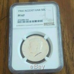 1964 Accented Hair Silver Kennedy Half Dollar Blast White No Spots NGC PR67