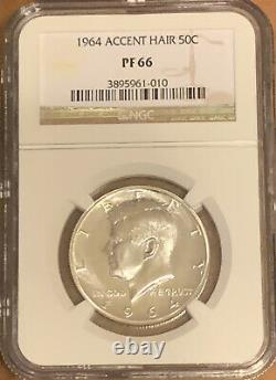 1964 Accented Hair Silver Kennedy Half Dollar NGC PF 66