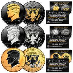 1964 BU Silver JFK Half Dollars 2-Sided BLACK RUTHENIUM Set of All 3 Versions