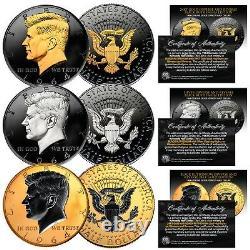 1964 BU Silver Kennedy Half Dollar 2-Sided BLACK RUTHENIUM Set of All 3 Versions