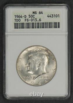 1964-D 50c SILVER KENNEDY HALF DOLLAR, TRIPLE DIE OBV FS-013.6 ANACS MS64 #N309