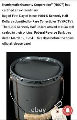 1964-D KENNEDY HALF DOLLAR 50C FROM US Mint DISCOVERY BAG NGC MS64 FDOI