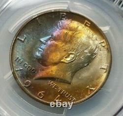1964 D KENNEDY Silver Half Dollar PCGS MS 65 Monster Rainbow Toner Toning Toned