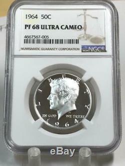 1964 Kennedy Half Dollar Ngc Pf68 Ultra Cameo Pr68 Dcam