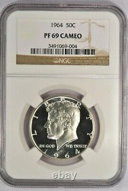 1964 Kennedy Half Dollar Proof NGC PF 69 CAMEO / PR69CAM Frosty Coin