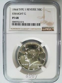 1964 Kennedy Silver Half Dollar NGC PF 68 Type 1 Reverse Straight G Proof PR DPL