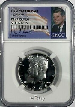 1964 NGC PF69 CAMEO PROOF KENNEDY HALF DOLLAR 50c 90% SILVER FIRST YEAR SIGNATUR