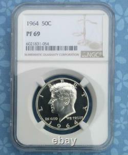 1964 NGC PF 69 Kennedy Silver Half Dollar, Gem Proof 69, Near Cameo, Top Grade