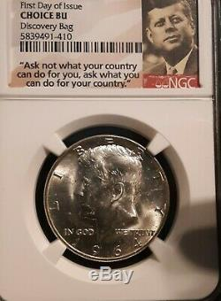 1964-d Kennedy Half Dollars 50c From Discovery Mint Bag Ngc Choice Bu Fdoi