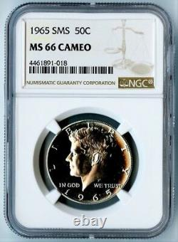 1965 Sms Ngc Ms66 Cameo Silver Kennedy Half Dollar 50c! Ngc Price Guide=$235
