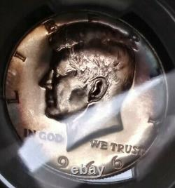 1966 SMS PCGS SP66 Kennedy Half Dollar Doubled die Obverse Gorgeous Toning