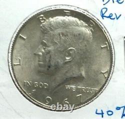 1967 Double Die Reverse Variety 40% Silver Kennedy Half Dollar DDR 50¢ #141