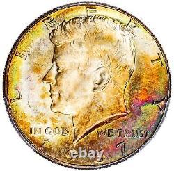 1967 Kennedy Half Dollar Toned MS67 PCGS Rare Rainbow Toning