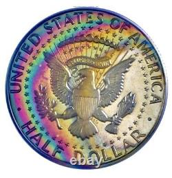 1967-P Kennedy Half Dollar SMS PCGS MS67CAM Ultra Vivid Double Rainbow Toned
