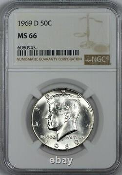 1969 D Silver Kennedy Half Dollar NGC MS66 Premium Gem