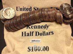1971 2017 PD Kennedy Half Dollar 100 Coin Lot 2x Silver 90% 40% +U. S. Mint Bag