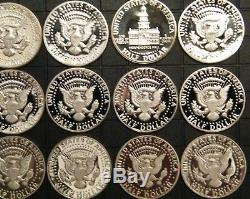1971-S 2009-S PROOF Kennedy Half Dollar Clad Coins 38 Coins US Proof Sets