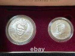 1998 Kennedy Collector's set Robert Silver Dollar & JFK Half Dollar Matte Coin