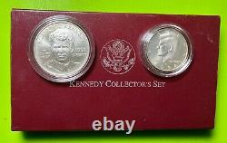 1998 Kennedy collectors set Matte JFK HALF/ RFK Dollar box & coa