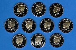 2000 2009 90% Silver Proof Kennedy Half Dollar Set of 10