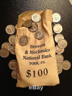 200 Coin Lot 2x Silver 90% 40% 1971 PD Kennedy Half dollar Vintage Bank Bag York