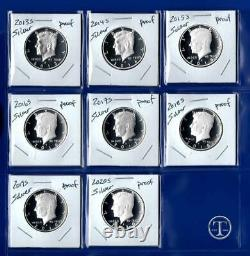2013 S 2020 S SILVER Proof Kennedy Half Dollar Set Eight Coins
