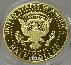 2014W proof 3/4 troy ounce 9999 gold Kennedy half dollar with original packaging
