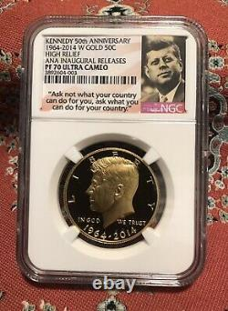 2014 Gold Kennedy Half Dollar 50th Anniversary NGC PF70 ANA Inaugural Releases