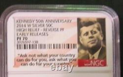 2014 Kennedy Half Dollar 4 coin Graded set 50th Anniversary NGC SP/PF 70