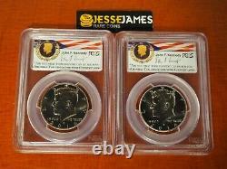 2014 P D Kennedy Half Dollar Pcgs Sp69 /69 50th Anniversary Unc Set Chicago Ana
