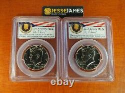 2014 P & D Kennedy Half Dollar Pcgs Sp69 /69 50th Anniversary Unc Set Fdi Denver