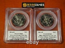 2014 P & D Kennedy Half Dollar Pcgs Sp69 /69 50th Anniversary Unc Set Fdi Philly