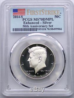2014-S 50th Ann Enhanced Kennedy Silver Half Dollar PCGS MS70 DMPL First Strike