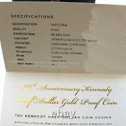 2014-W 3/4 oz Gold Kennedy Half Dollar Commem Proof (withBox & COA) SKU #83918