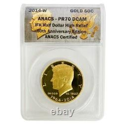 2014-W 3/4 oz Gold Kennedy Half Dollar Proof High Relief ANACS PF 70 DCAM