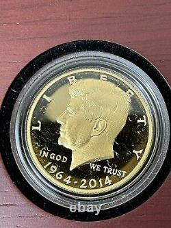 2014-W 50th ANNIVERSARY GOLD KENNEDY HALF DOLLAR 3/4 OZ. 9999 PURE Free Shipping
