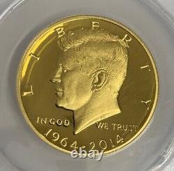 2014-W JFK Kennedy High Relief Half Dollar 999 Gold Coin ANACS PR70 DCAM