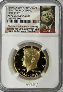 2014-W Kennedy 50th Anniversary High Relief Proof Gold Half Dollar NGC PF70