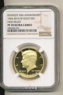 2014 W NGC PF70 UCAM GOLD Kennedy Half dollar MS70 50th anniversary G O L D PR70