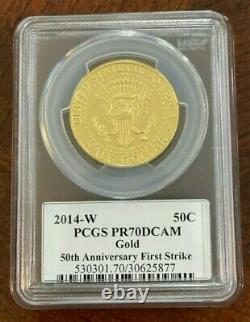 2014-W PCGS PR70DCAM Gold JFK 50th Anniversary First Strike Half Dollar