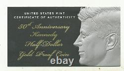 2014 W Proof GOLD Kennedy Half dollar 50th anniversary Complete OGP + COA