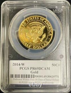 2014 w Kennedy Gold Half Dollar 3/4 Troy oz (. 9999) PCGS PR 69 DCAM First Strike