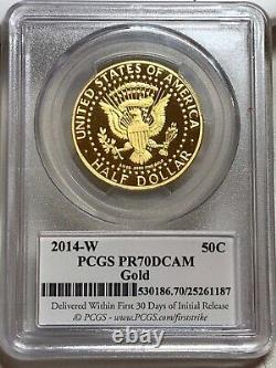 2014-w Proof Gold Kennedy Half Dollar Pcgs Pr70 Dcam First Strike Chicago Ana