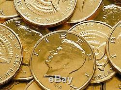 2 LB Gold Foil Wrapped Milk Chocolate Kennedy Half Dollar Coins Two Pounds Candy