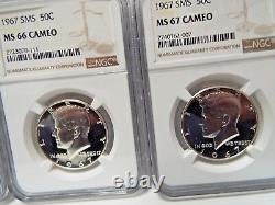 3 Coin Set 1967 SMS 50c Silver Kennedy Half Dollar NGC MS 67/66/65 Cameo