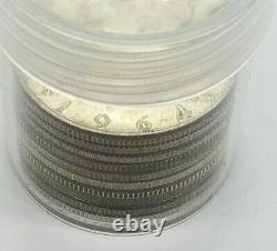 JFK Half Dollar 1/2 Roll Silver 90% $5 10 Coins 1964 PDS FULL DATE Lot WITH TUBE