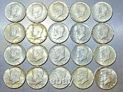 LOT of 20 Kennedy Half Dollars $10FV 1964 90% Roll United States Silver Coins